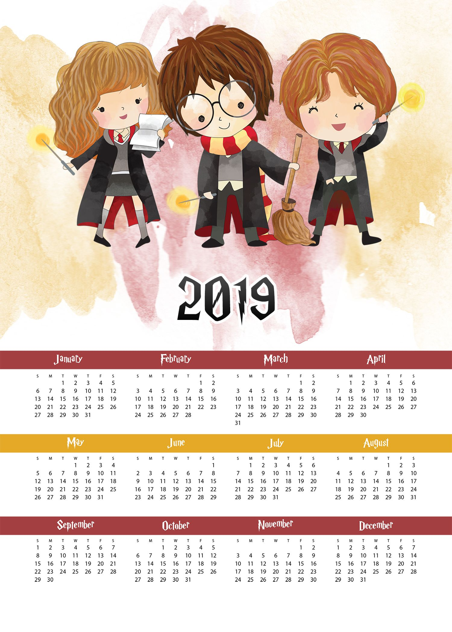 Free Printable Harry Potter One Page Calendar