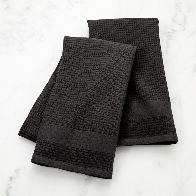 Black Terry/Waffle Weave Dish Towels, Set of 2 #dishtowels
