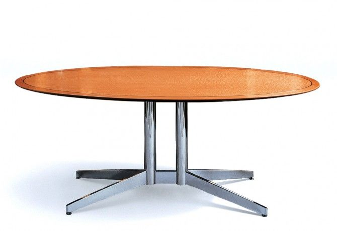 Oval Charisma Conference Table With Chrome Metal Base