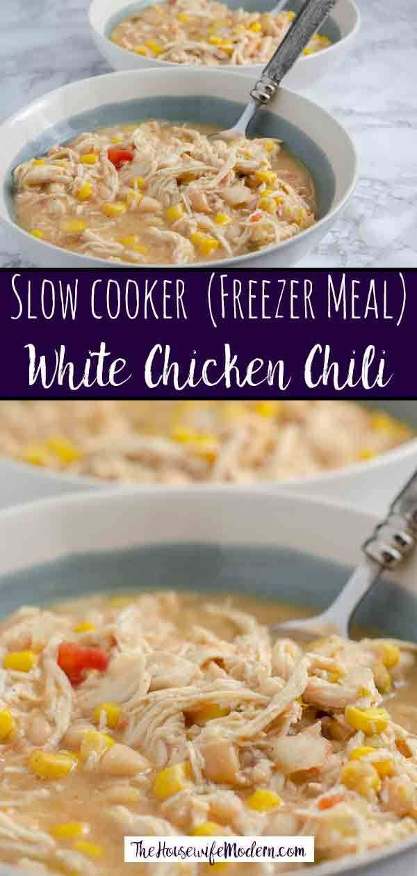 Slow Cooker White Chicken Chili (Freezer Meal)