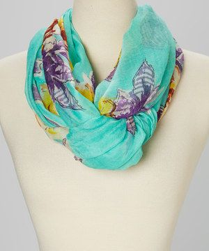 This Blue & Tan Floral Infinity Scarf by Jasmine Trading Corp is perfect! #zulilyfinds