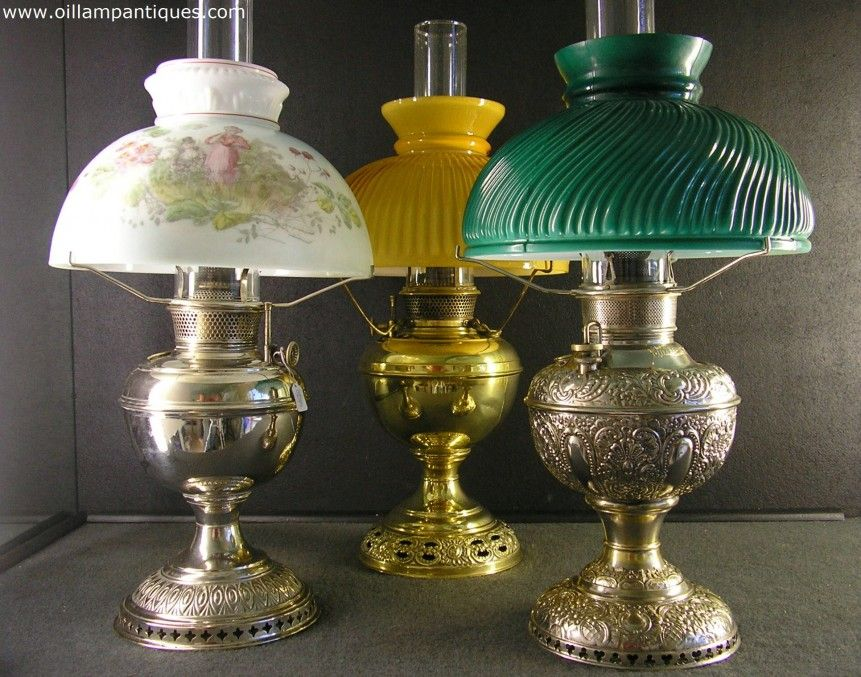 A Selection Of Table Antique Oil Lamps Kerosene Lamps In