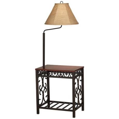 Travata Cherry Wood End Table With Floor Lamp 5c204