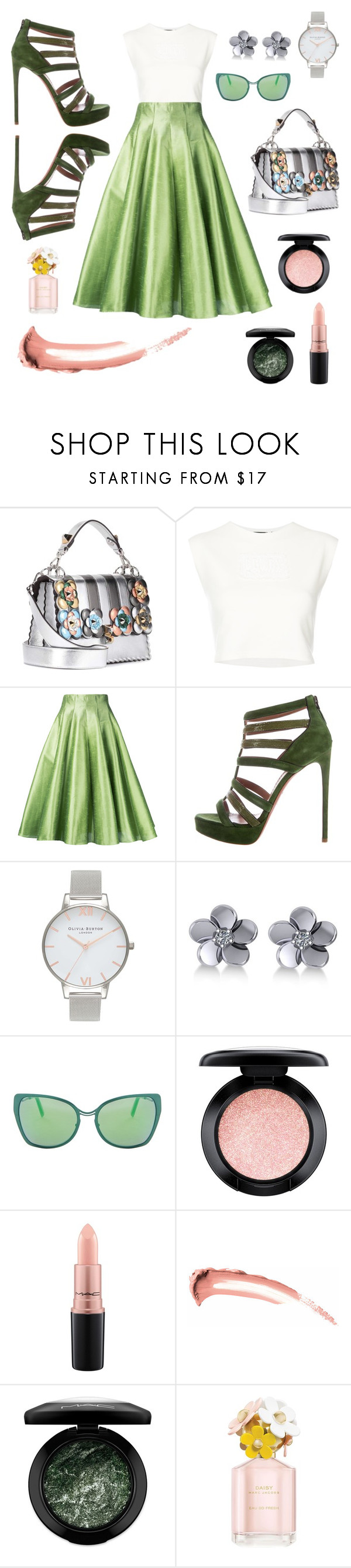 """All about that green skirt"" by lucieschramek on Polyvore featuring Fendi, Puma, Bambah, Olivia Burton, Allurez, Cutler and Gross, MAC Cosmetics and Marc Jacobs"