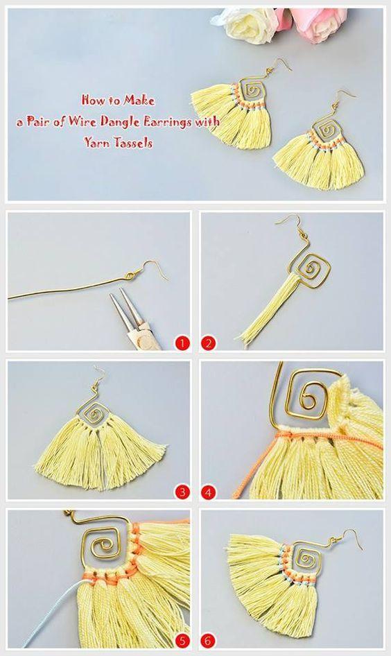 #Beebeecraft Tutorials on making a yellow wire dangle earrings.