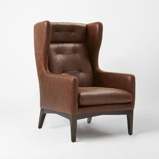 Pendulum Accent Chair Old Saddle Black Chimney: James Harrison Winged Chair, Leather, Molasses $1299 (With