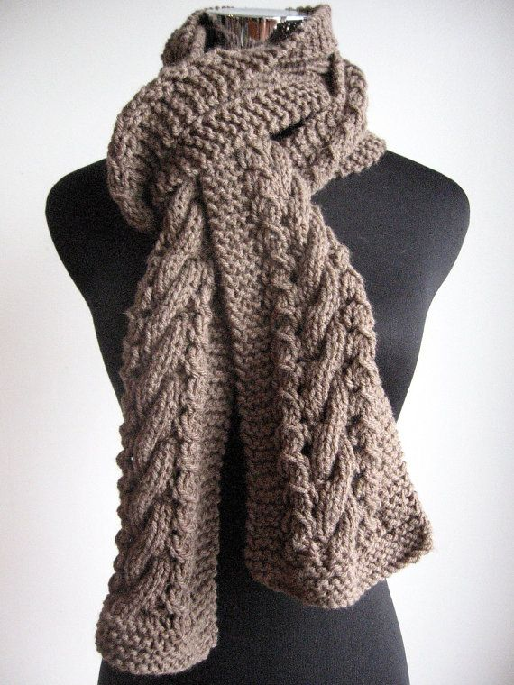 Taupe Hand Knit Scarf Heather Cable and Lace Taupe Scarf Vegan Scarf ...