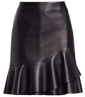 5ddbbfabc Akris Punto Women's Ruffled Hem Leather Skirt in 2019   Products ...