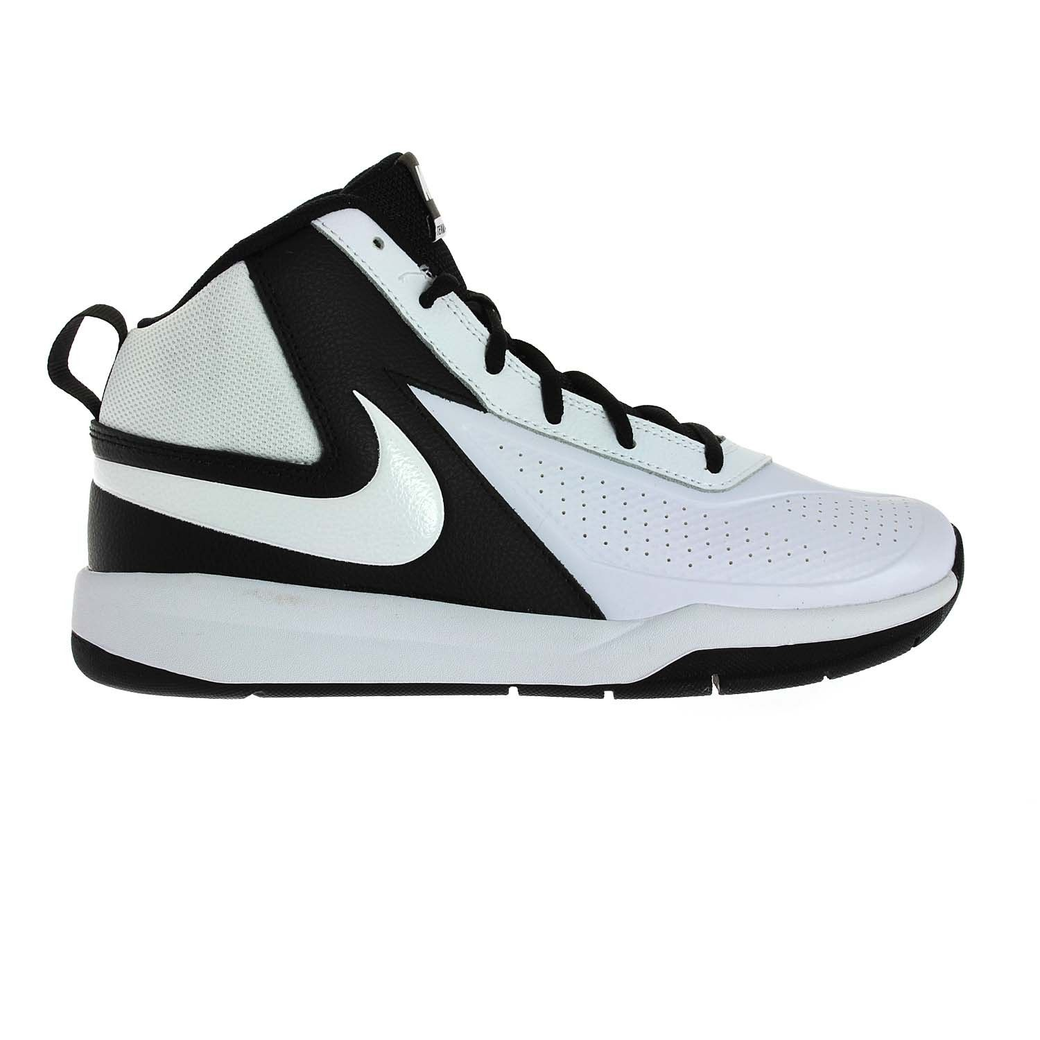 Synthetic and leather upper in a high-top basketball shoe style with a  round toe Lace up front Smooth lining, cushioni