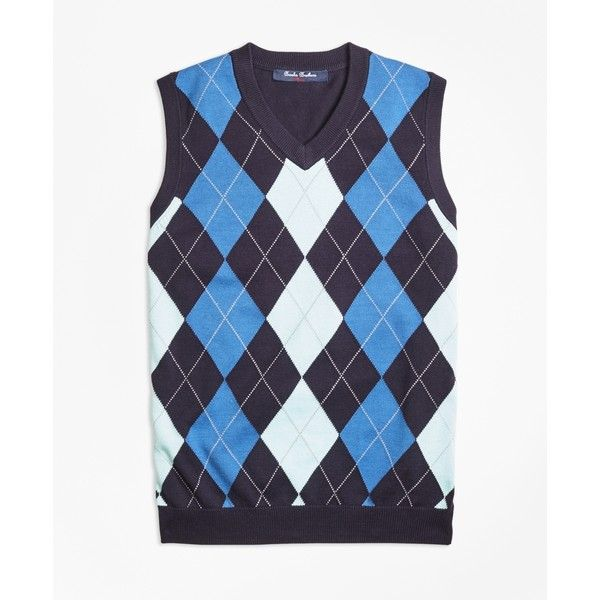 Brooks Brothers Cotton Argyle Sweater Vest ($28) ❤ liked on ...