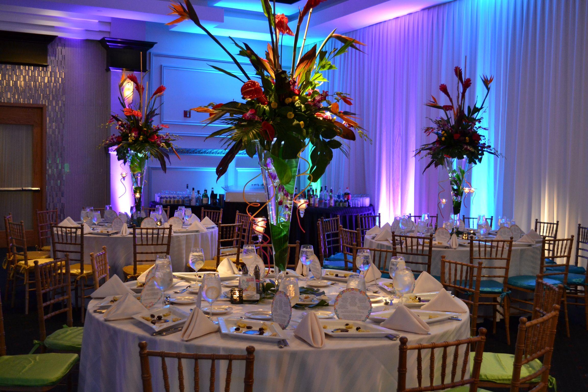 tropical themed bat mitzvah event decor tropical flower adult