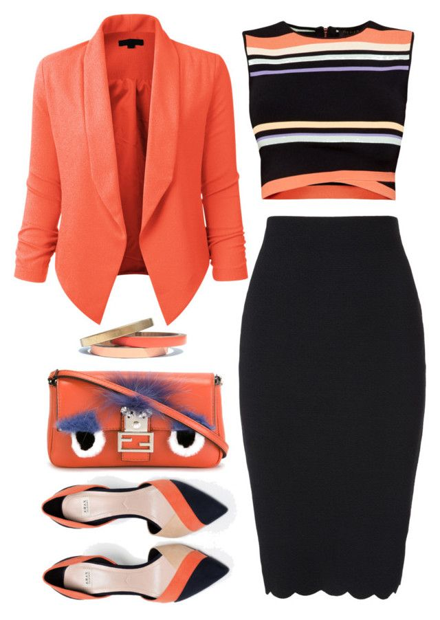 Coral Blazer by kiki-bi on Polyvore featuring polyvore, fashion, style, Ted Baker, LE3NO, Phase Eight, Zara, Fendi, Voz Collective, clothing, blazer, colorblockshoes, scallopedskirt and coolcorals