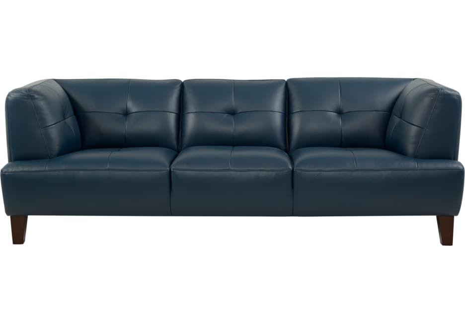 Strange Villa Capri Blue Leather Sofa In 2019 Blue Leather Sofa Theyellowbook Wood Chair Design Ideas Theyellowbookinfo