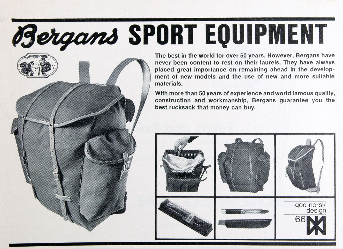 Bergans Sport equipment ad | Vintage - Rugzak