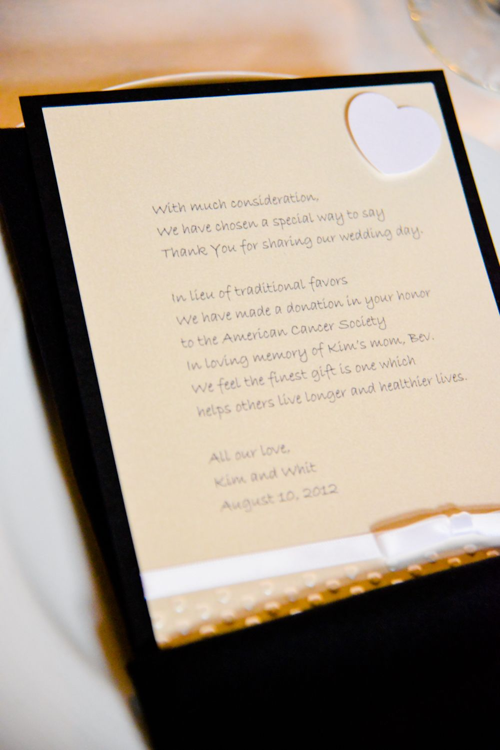 Instead of silly wedding favors, make a donation to a charity and ...