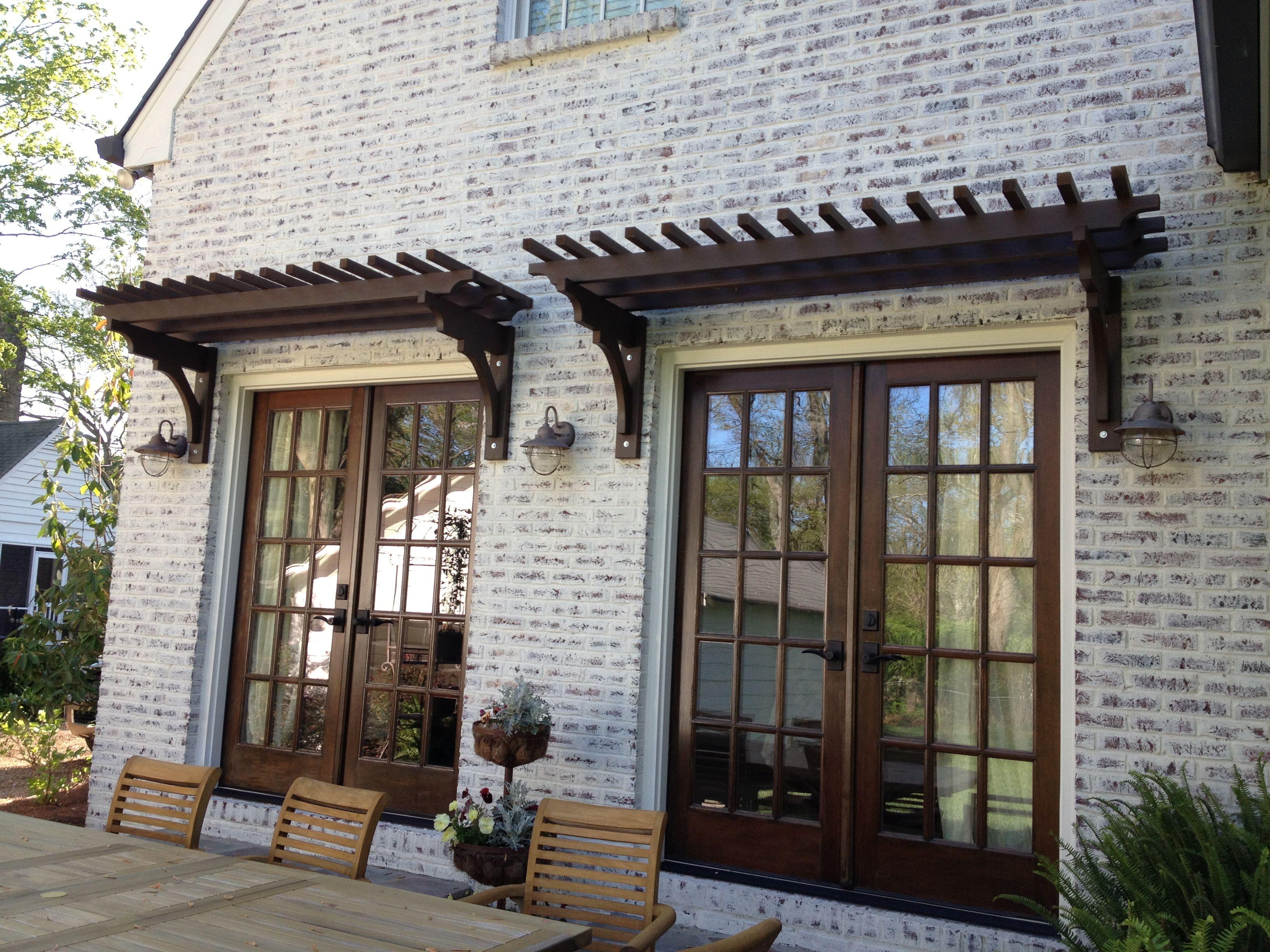 Trellis over french doors window door pergolas for Exterior garden doors