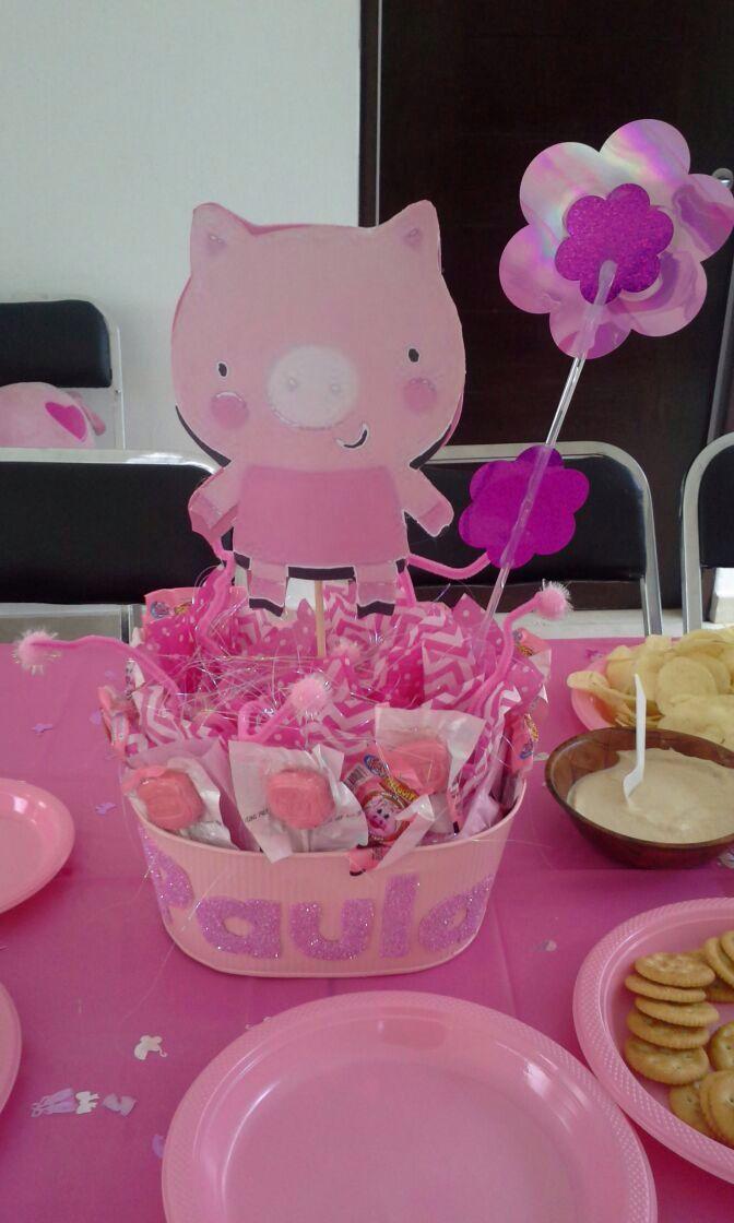 Centro De Mesas Cerditos Baby Shower Girl Superhero