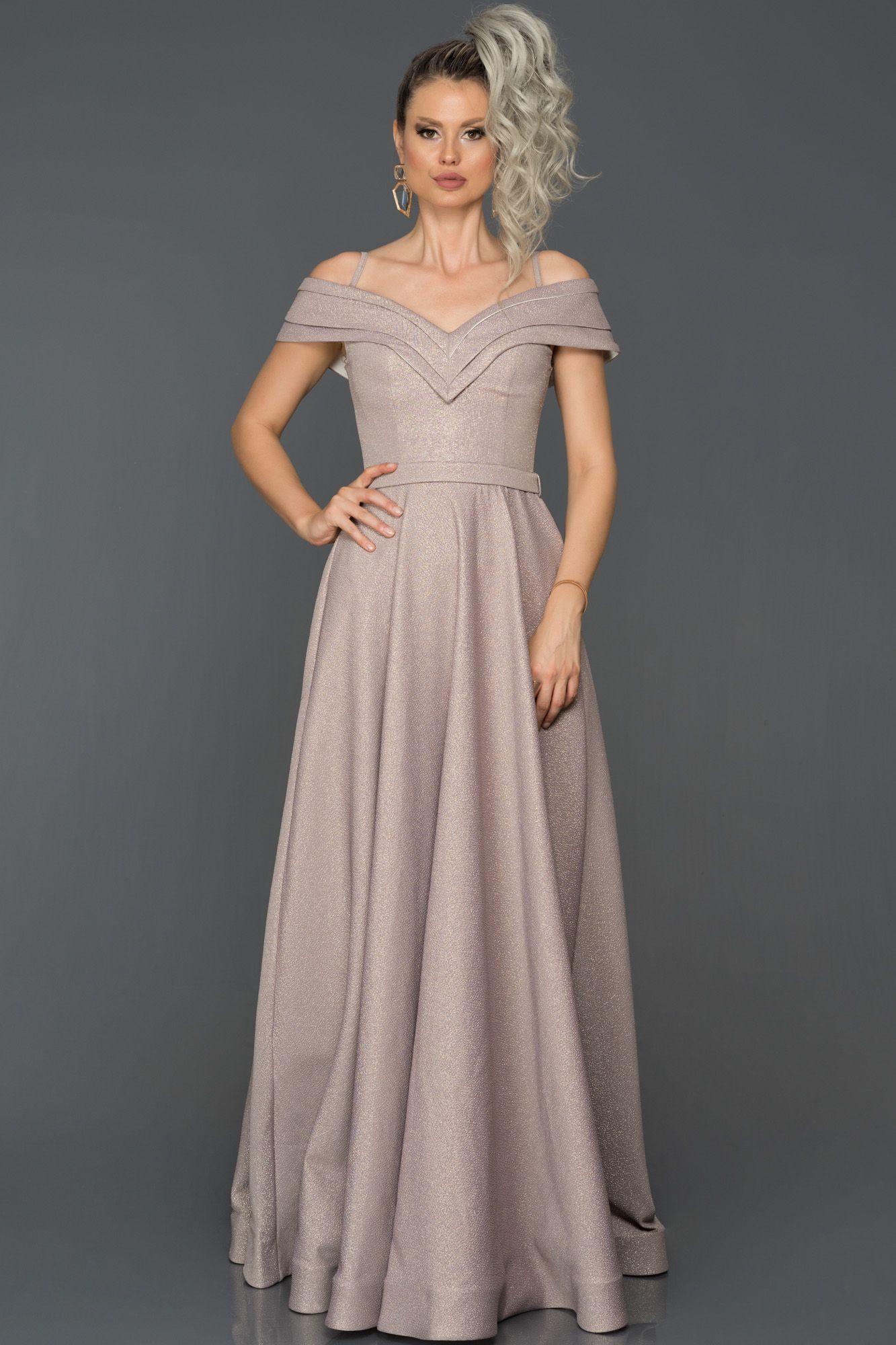 Pudra Simli Uzun Abiye Elbise Abu252 Elbise Moda Stilleri Stil