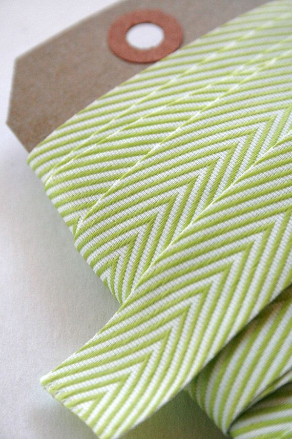 Chevron Twill Herringbone Ribbon Lime Green And White 3 4 Inch