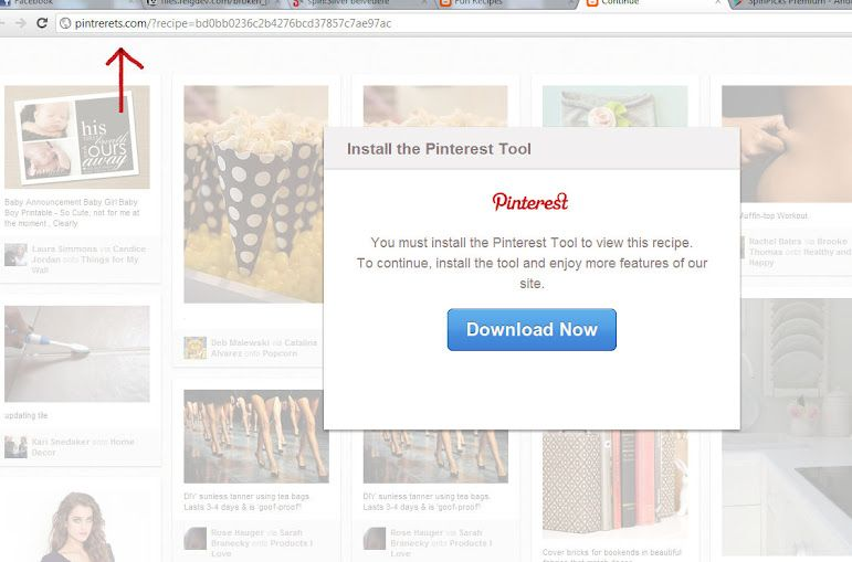 "Watch out for malicious pins that try to trigger the download of a ""Pinterest Tool""    uh oh."