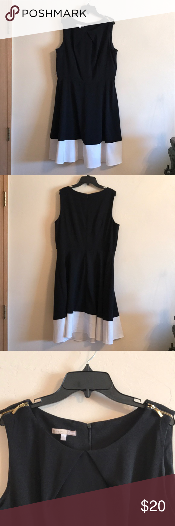 Signature Darby Dress Solid Black Dress With White Trim At The Bottom And Gold Zippers On The Shoulders T Business Casual Outfits Clothes Design Casual Outfits [ 1740 x 580 Pixel ]