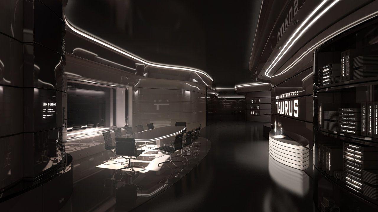 Taurus iv meeting room by siamon89 on deviantart for Cyberpunk interior design