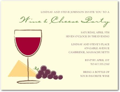 signature ecru party invitations wine pairing - front : chambord, Party invitations