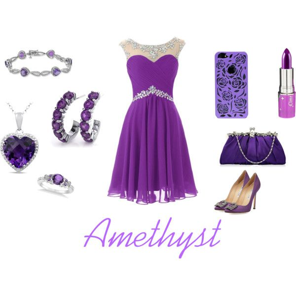 February Birthstone-Amethyst by dominikazdanowicz on Polyvore featuring Manolo Blahnik, Allurez and Lime Crime