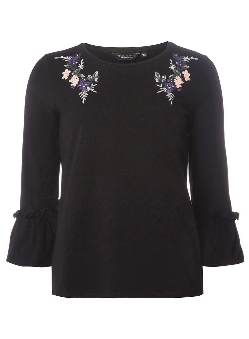 d86a18cfaa **Tall Black Floral Embroidered Flute Sleeve Top - Tops & T-Shirts -  Clothing - Dorothy Perkins United States