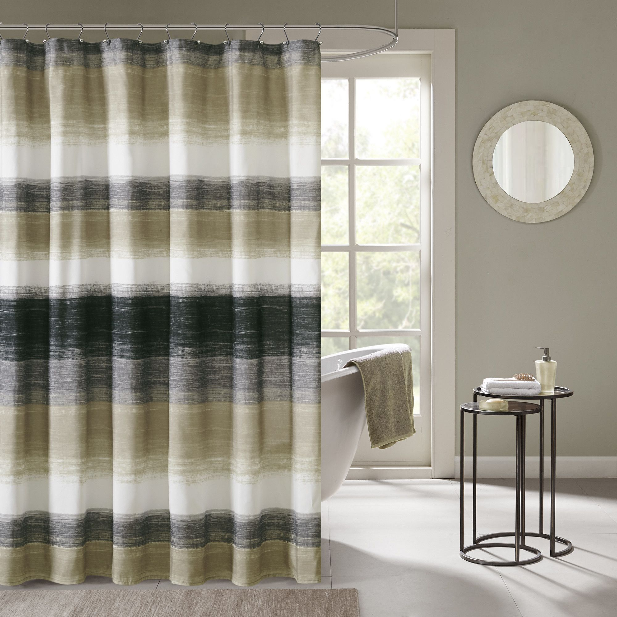 Create An Earthy Bathroom With This Madison Park Essentials Barrett Shower Curtain In Taupe