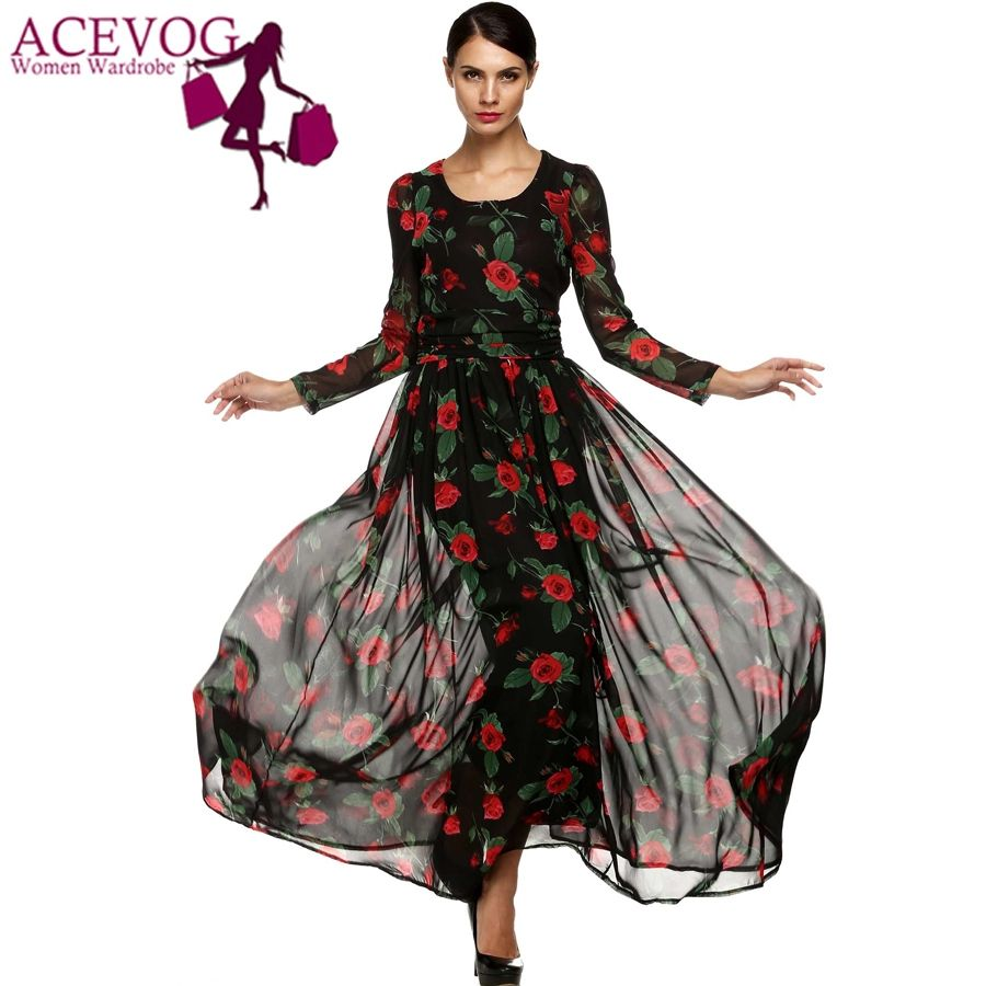 Acevog summer dress fashion women ladies tunic maxi long chiffon