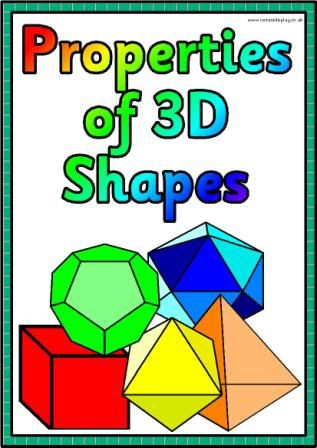 Printable Properties of 3D shapes posters for classroom display