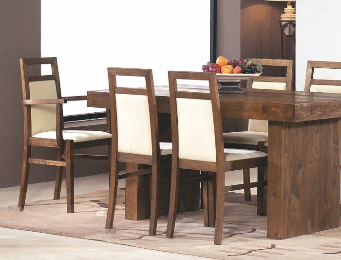mesa comedor roble macizo fija estilo rústico para 6 comensales ...