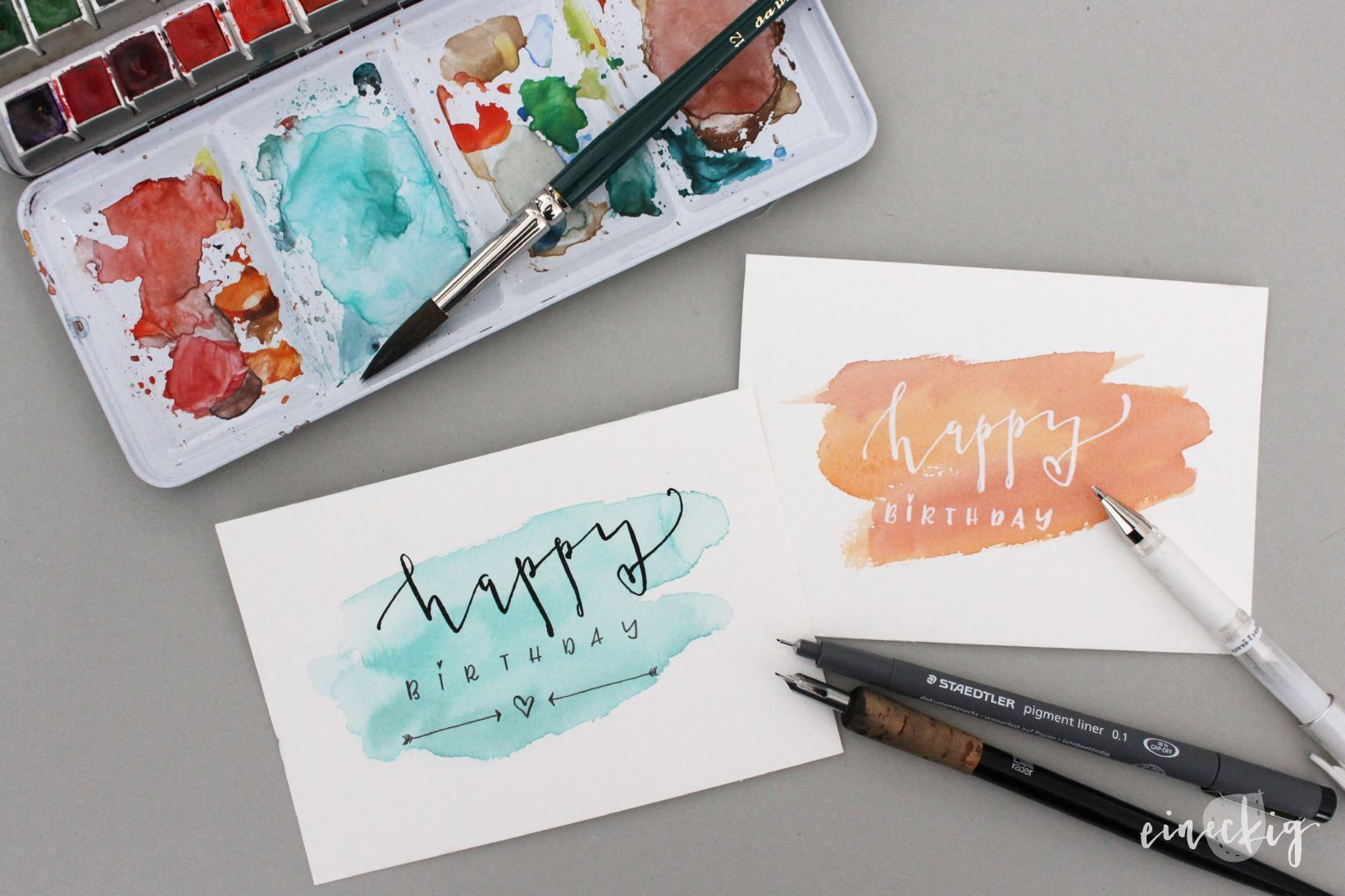 Handlettering Anleitung Geburtstagskarte Geburtstagskarte Diy