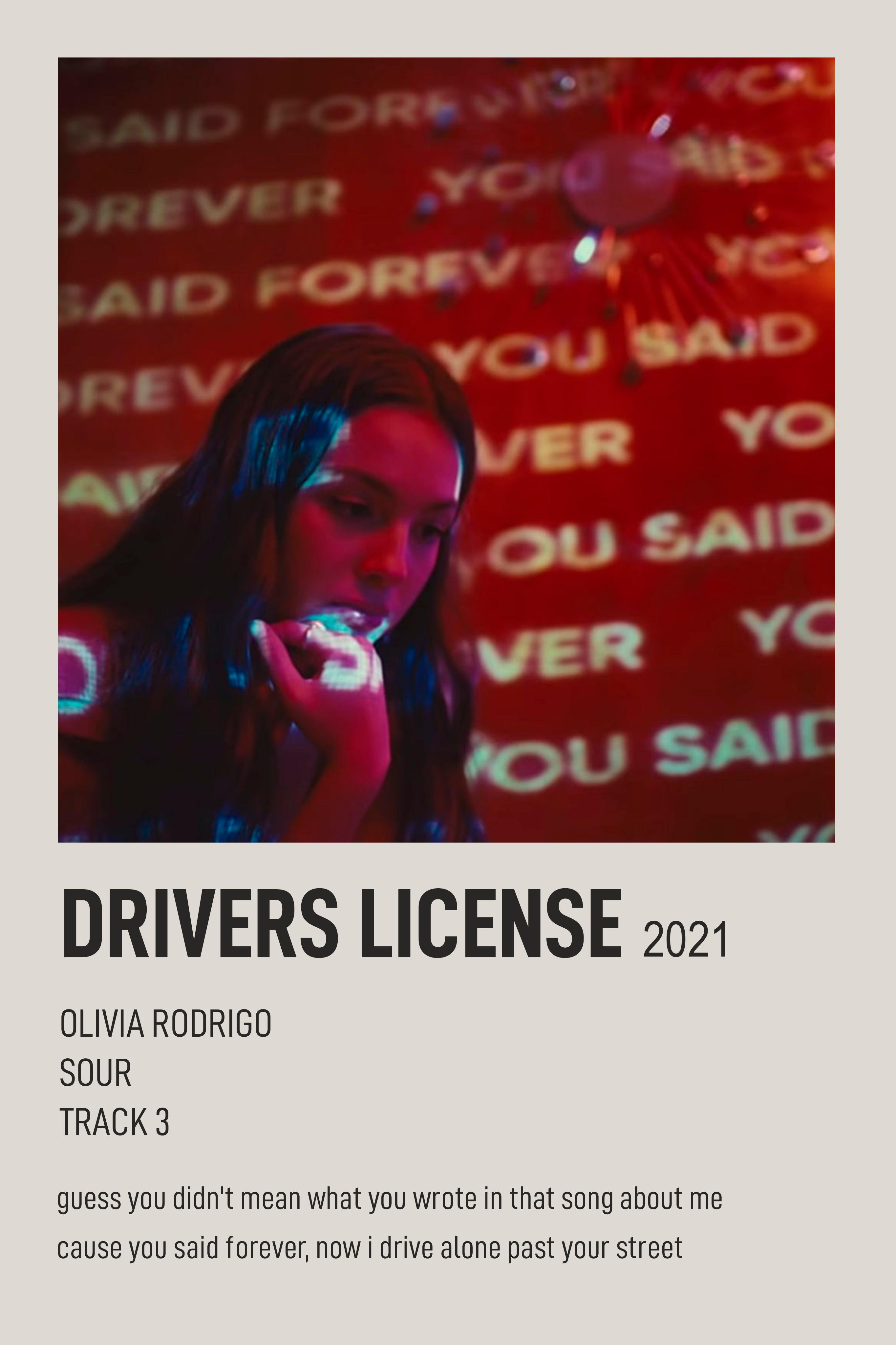 drivers license olivia rodrigo polaroid postcard