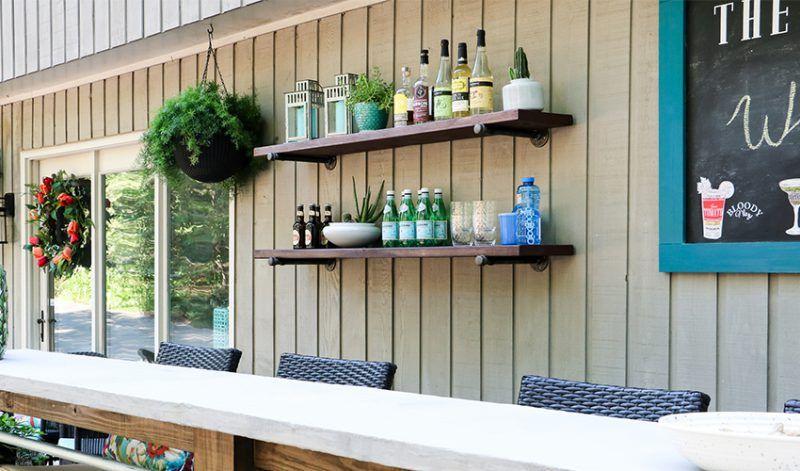 9 Easy Outdoor Bar Ideas On A Budget Hayneedle Outdoor Bar Wall Mounted Bar Outdoor Shelves