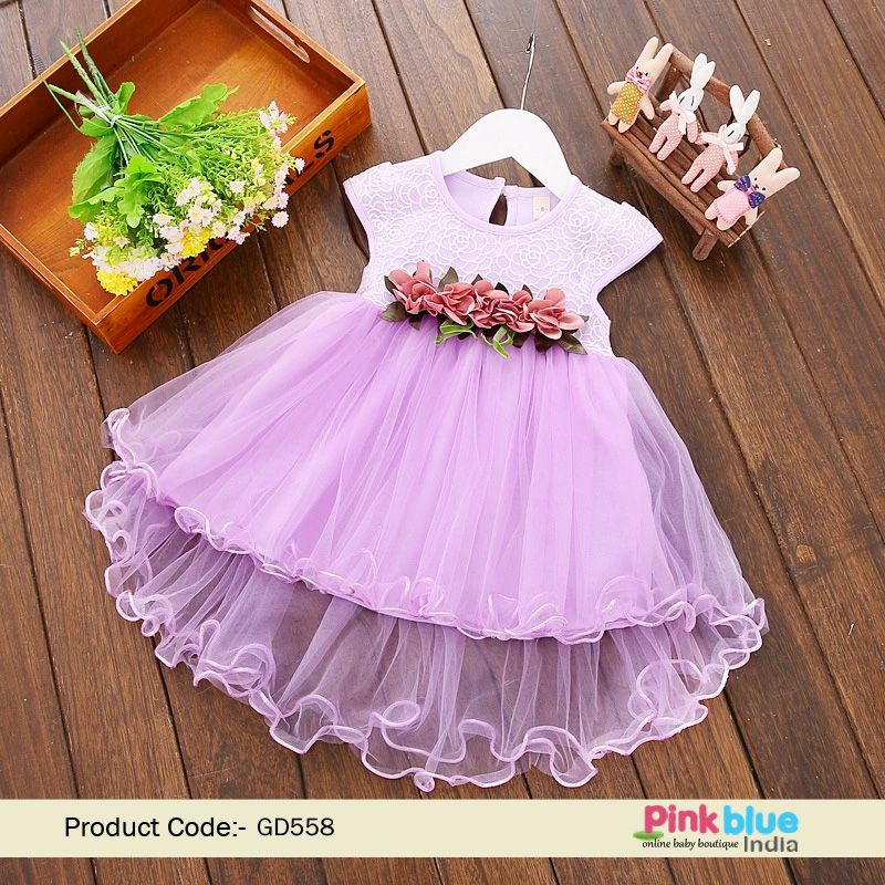 6511c3092c First Birthday Baby Girl Lavender Party Dress One-year Frocks Online ...