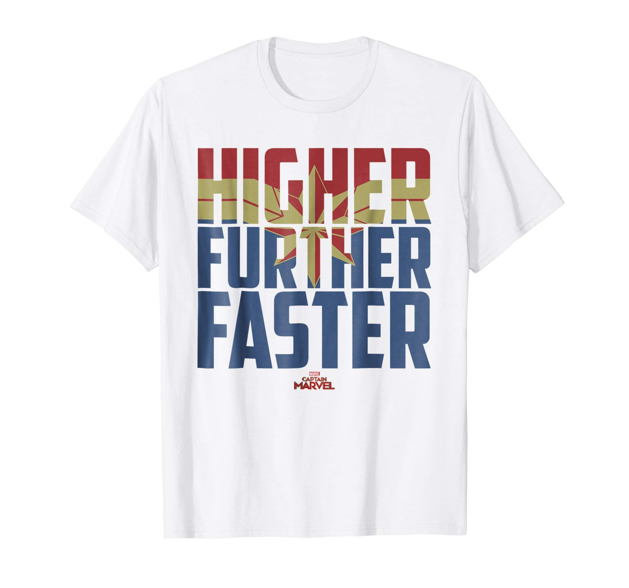 c5c791a8a6d Amazon.com  Marvel Captain Marvel Higher Faster Fill Graphic T-Shirt   Clothing