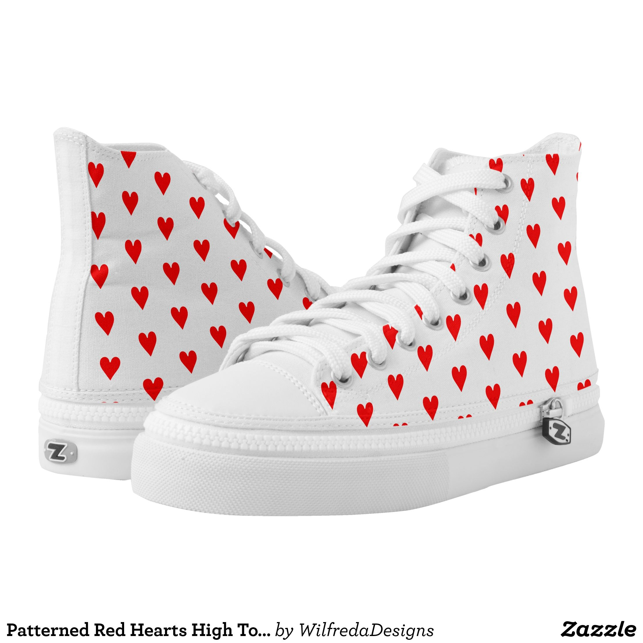 Patterned Red Hearts High Top Tennis