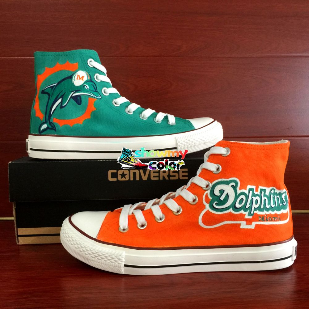 Awesome Converse Shoes Women High Top Hand Painted Nfl Miami