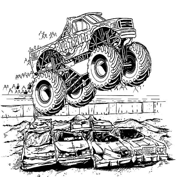Monster Truck Jumping Over Crashed Cars Coloring Pages Netart Monster Truck Coloring Pages Cars Coloring Pages Truck Coloring Pages