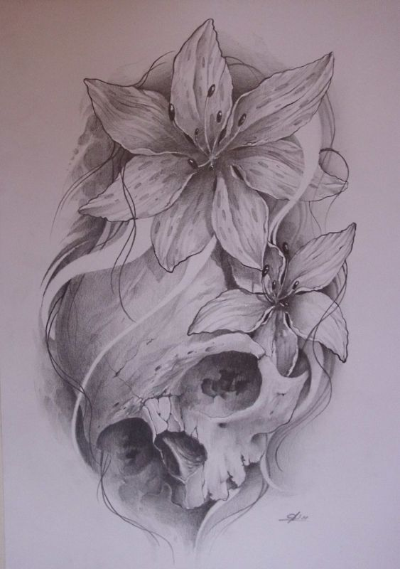 23a06c8956c90 a feminine twist to a skull tattoo. Would add color to the lilly s. Spider  replace a flower and web behing top of skull.