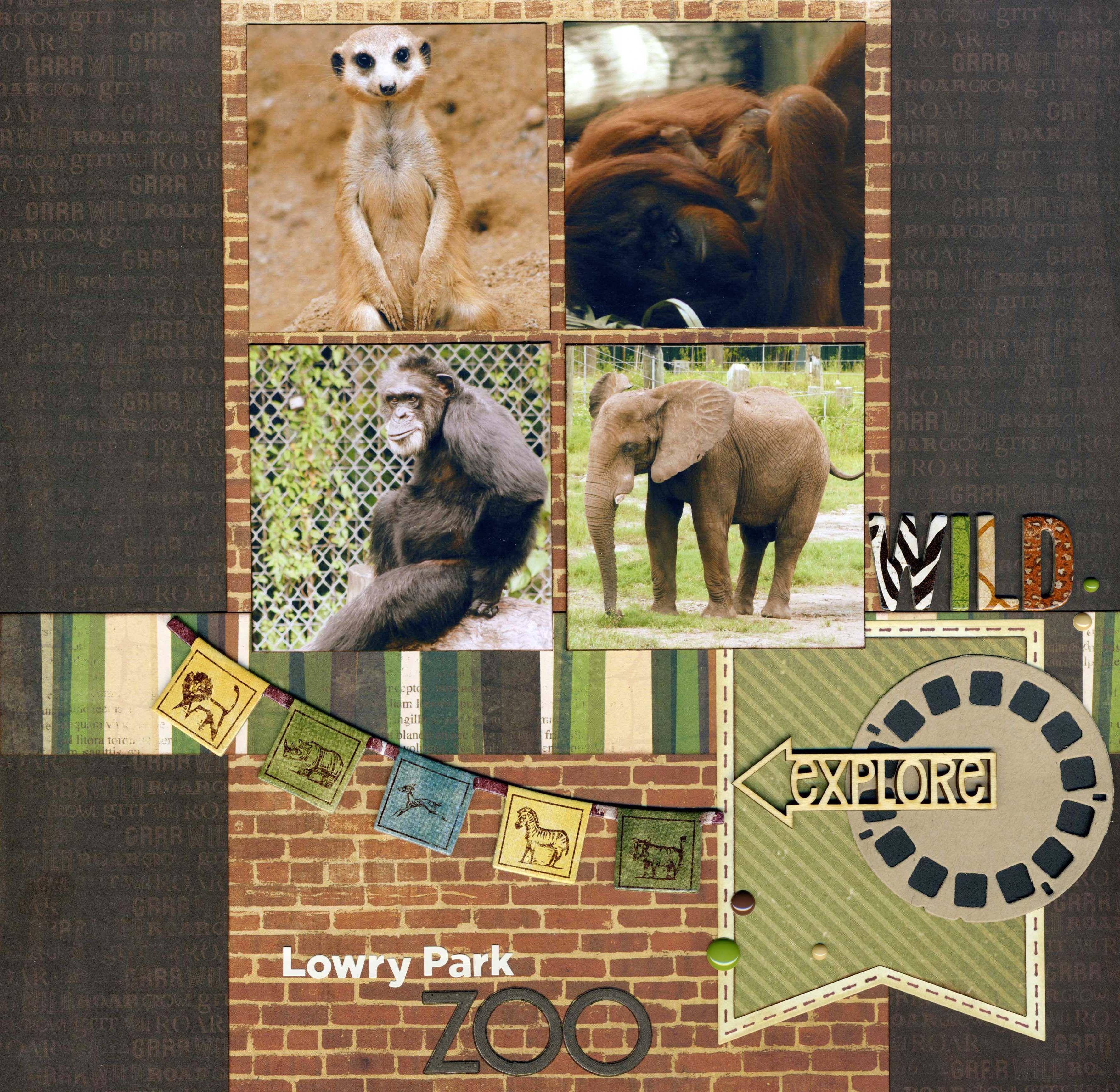 Zoo animal scrapbook ideas - Lowry Park Zoo Bo Bunny Safari Collection