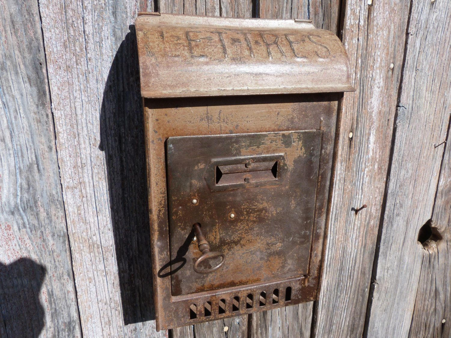 Antique French Post Office Mailbox Box W Key Metal