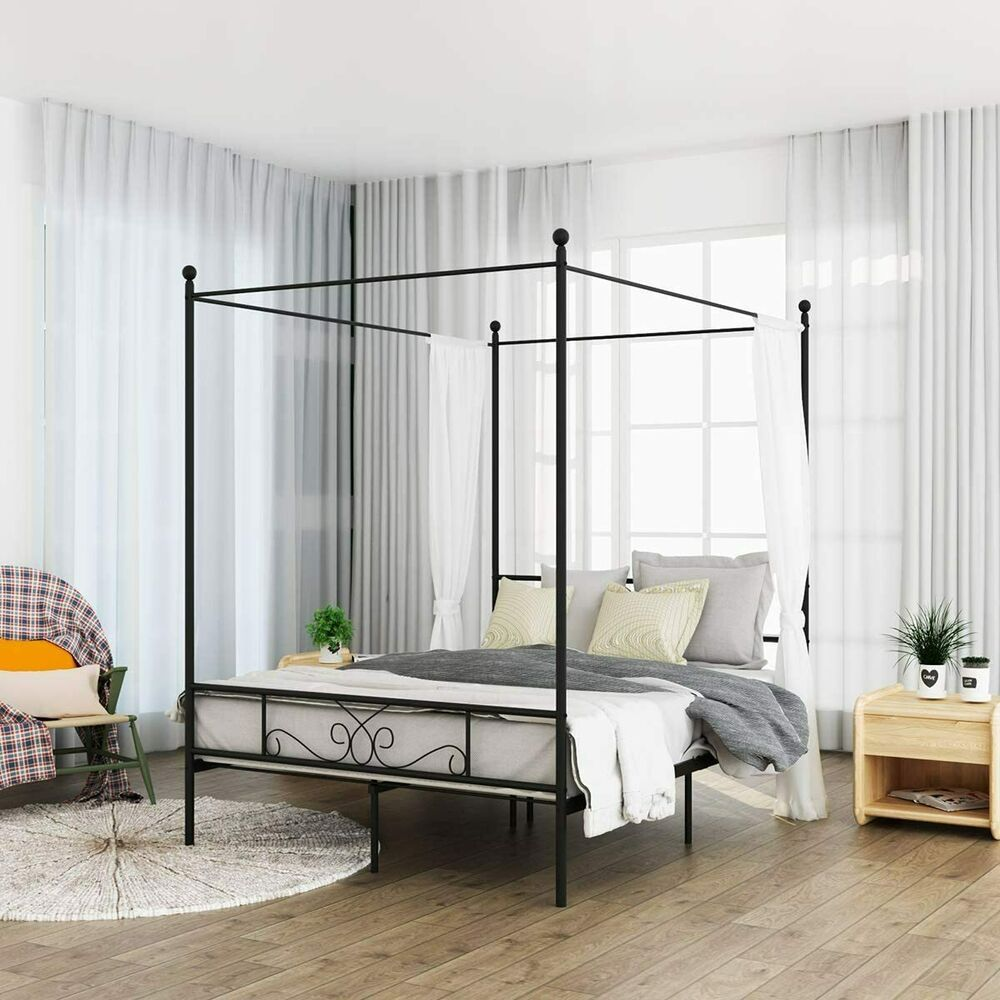 Metal Canopy Bed Black Finish Frame Queen Size Platform