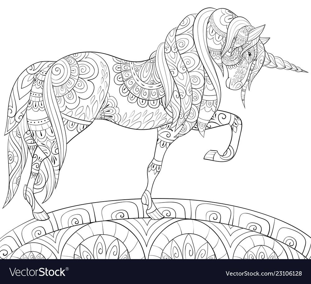 Photo Bookpage Ideas: Adult Coloring Bookpage A Cute Unicorn On The Vector Image