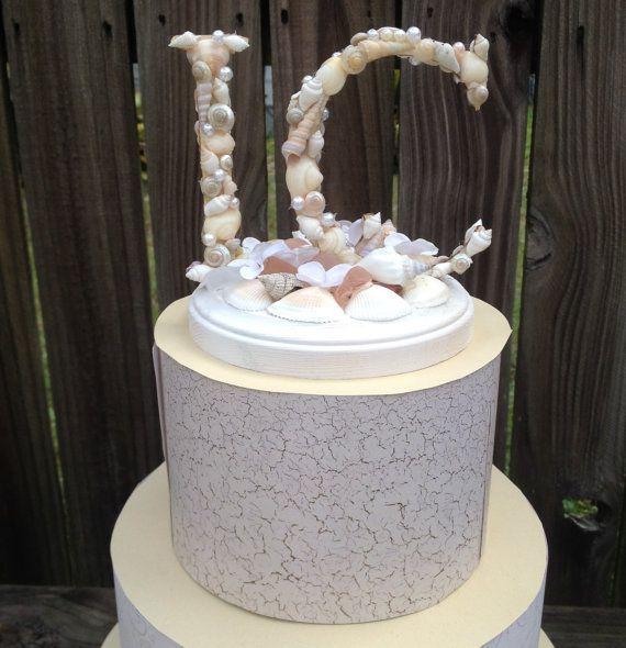 Beach Wedding Cake Topper Custom Cake Topper by LCFloral on Etsy, $45.00