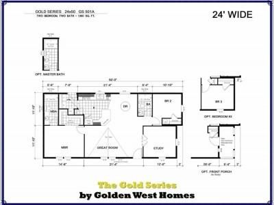 sqft 1160 beds 2 bath 2 area 24x50 sections 2 golden series 501a golden west - Golden West Homes Floor Plans