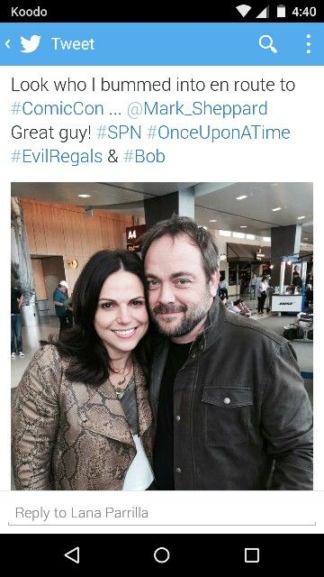 From Lana's twitter! The Evil Queen and The King of Hell! Just perfection! #SPN #OUAT