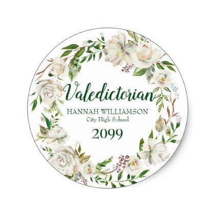 Valedictorian graduation white floral personalized classic round sticker valedictorian